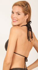 Strappy Wet Look Bikini Top - Black
