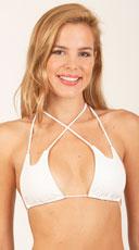 Strappy Wet Look Bikini Top - White