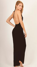 Plunging Cover-Up Halter Dress - Black Out