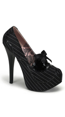 Teeze Two Tone Pump With Bow - Black Pinstripes Sain-black Pat