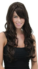 Long Curly Chocolate Brown Wig - Chocolate