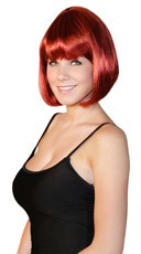 Deluxe Bobbed Dark Red Wig - Red