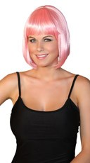 Deluxe Bobbed Baby Pink Wig - Pink