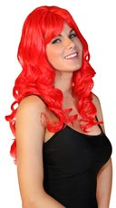 Deluxe Long Red Curly Wig - Red