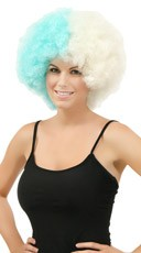 Blue and White Two Tone Afro Wig - as shown