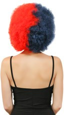 Navy Blue and Red Two Tone Afro Wig - Navy Blue/Red