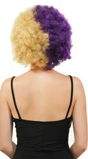 Purple and Gold Two Tone Afro Wig - Purple/Gold