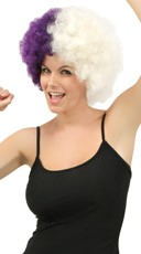 Purple and White Two Tone Afro Wig - Purple/White
