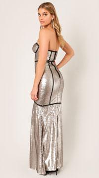 Mae Starstruck Sequins Gown - Matte Silver