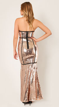 Mae Starstruck Sequins Gown - Rose Gold