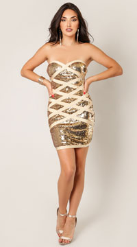 Lara Wrap Me Up In Sequins Dress - Gold