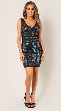 Rhea Bandage Sequin Dress - Black