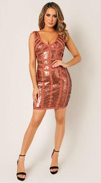 Rhea Bandage Sequin Dress - Rust