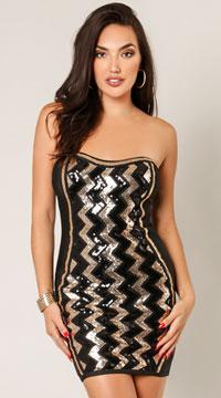 Reya Chevron Cheers Sequins Dress - Black
