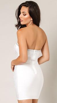 Reya Chevron Cheers Sequins Dress - White