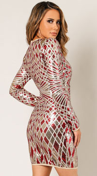 Medley Life Of The Party Sequin Dress - Red