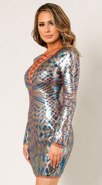 Medley Life Of The Party Sequin Dress - Teal