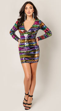 Sahalie Steal Me Away Sequin Dress - Rainbow