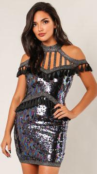 June Halter Fringe Party Dress - Black