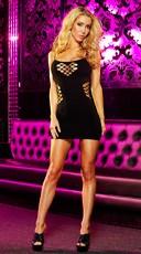Fishnet Cage Mini Dress - Black