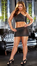 Plus Size Shimmer Mini Skirt and Cami Top Set - Black