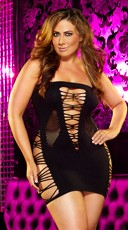 Plus Size Mixed Net Mini Dress - Black