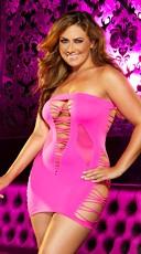 Plus Size Mixed Net Mini Dress - Hot Pink