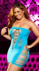 Plus Size Mixed Net Mini Dress - Neon Blue
