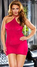 Plus Size Sparkle VIP Mini Dress - Neon Pink