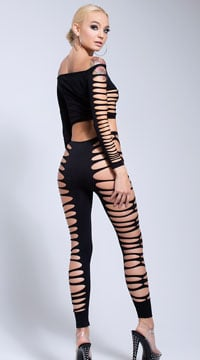 Fire Flame Crop Top and Pant - Black