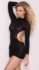 Long Sleeve Backless Mini Dress - Black