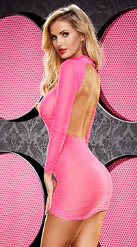 Long Sleeve Backless Mini Dress - Hot Pink
