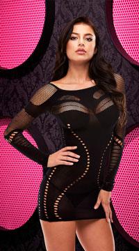 Long Sleeve Mini Dress - Black
