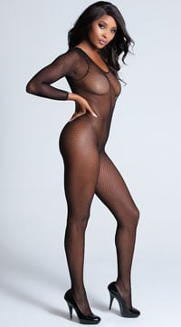 Long Sleeve Crotchless Bodystocking - Black