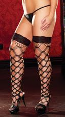 Plus Size Lace Top Large Net Pattern Stockings - Black