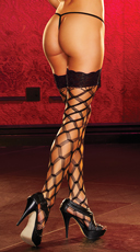 Lace Top Large Net Pattern Stockings - Black