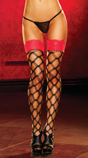 Lace Top Large Net Pattern Stockings - Red