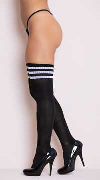 White Striped Thigh High Socks - Black/White