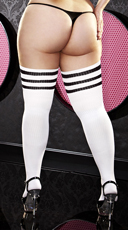 Plus Size Black Striped Thigh High Socks - as shown