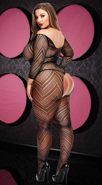 Plus Size VIP Long Sleeve Crotchless Bodystocking - Black