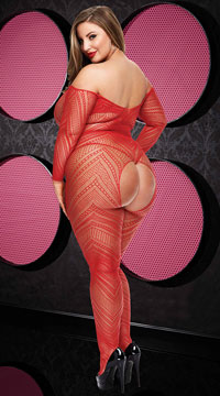 Plus Size VIP Long Sleeve Crotchless Bodystocking - Red