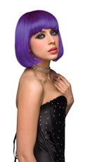 Neon Purple Explosion Curled Out Bob Wig - as shown