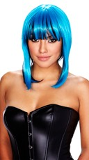 Neon Blue and Black Wig - Blue/Black