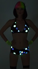 Yandy Daisy Printed Glow in the Dark Banded Halter Top - Black