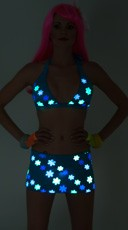 Yandy Daisy Printed Glow in the Dark Banded Halter Top - Turquoise