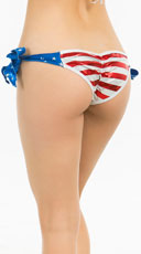 Yandy Stars And Stripes Tie Side Scrunch Rio Bottom - Stars & Stripes