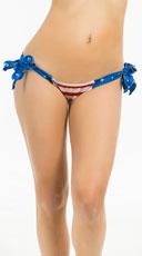 Yandy Stars And Stripes Tie Side Scrunch Rio Bottom - as shown