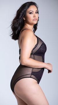 Yandy Plus Size Mixed Up Bodysuit - Black