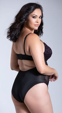 Yandy Plus Size Keep Me Company Bodysuit - Black