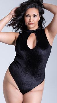 Yandy Plus Size Velvet Vision Bodysuit - Black
